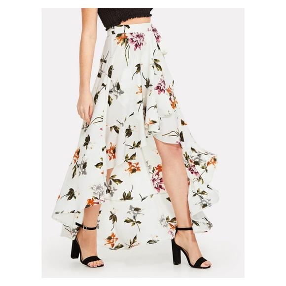 953c43e9eda94 White Floral Asymmetrical Side Tie Ruffle Skirt